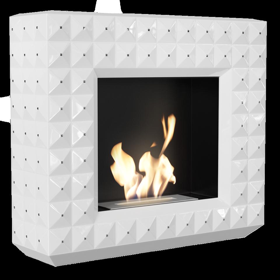 biokominek EGZUL z kryształami Swarovski biały połysk